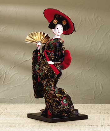Japanese Doll With Fan & Hat