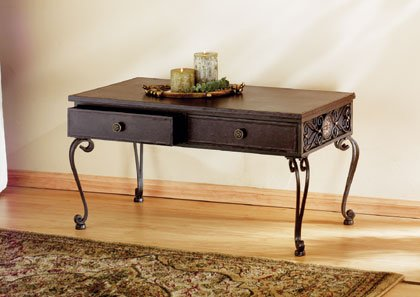 Wood and Wrought Iron Occassional Table