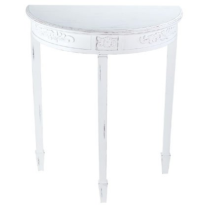 Distressed White Wood Hall Table