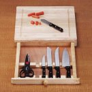 Wood Cutting Board with Knife Set
