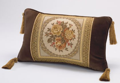 Tasseled Brown Velvet Cushion