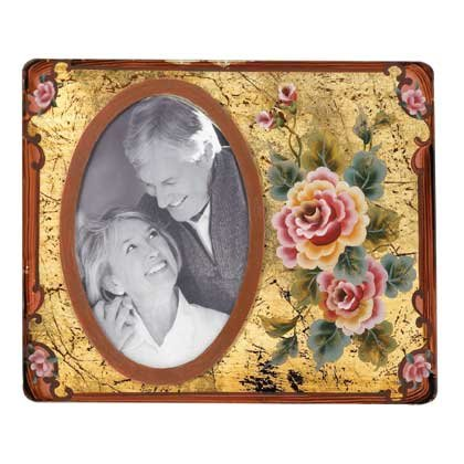 Rose Painted Glass Photo Frame