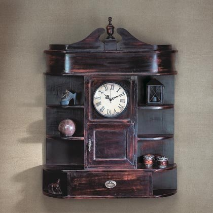 Wood Clock With Curio Shelves