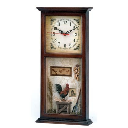 Rooster Motif Shadowbox Clock