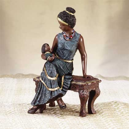 African American Mother and Child Figurine