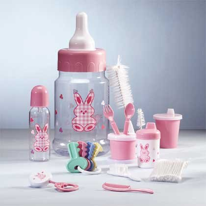 Pink Baby Gift Set in Bottle Bank