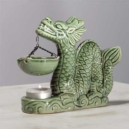 Glazed Porcelain Dragon Oil Warmer
