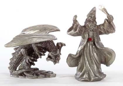 Pewter Merlin and Dragon