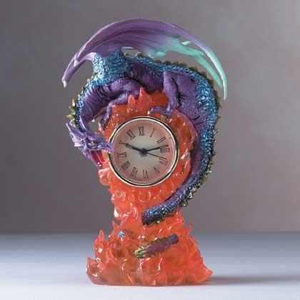 Dragon and Flames Desk Clock