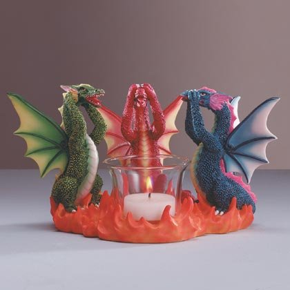 See, Hear, Speak, Dragon Candle Holder