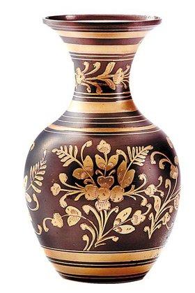 Brass Pewter Vase - Flower
