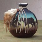 Shadowy Wolf Painted Vase