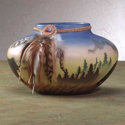 Southwestern Vase with Bear