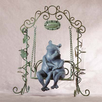 Frogs on Swing Sculpture with Bud Vases