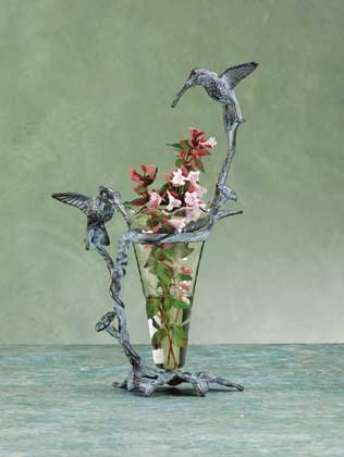 Brass Hummingbird Glass Vase