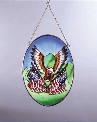Art Glass Eagle, Flag Suncatcher