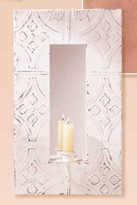 Distressed White Metal Mirror & Candle Holder