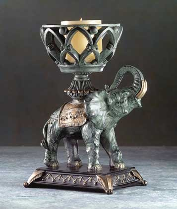 Elephant with Basket Candleholder
