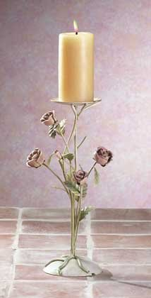 Painted Metal Roses Candle Holder