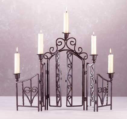 Wrought Iron Fence 5-Candle Holder