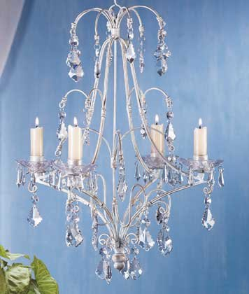 Distressed White Metal Chandelier Candle Holder