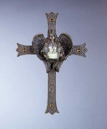 Antique-Look Cross with Angel Candle Holder