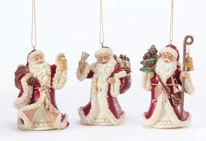 Santa Xmas Ornaments Set of 3