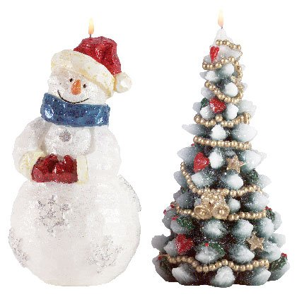 Snowman and Christmas Tree Candles