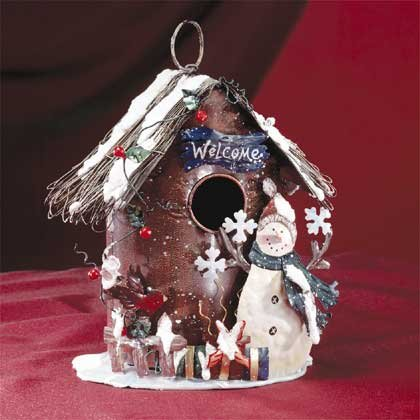 Painted Metal Xmas Birdhouse