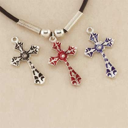 Black Cord Cross Necklace
