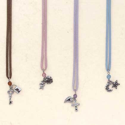 Faux Leather Necklaces with Nickel Plated Pendants