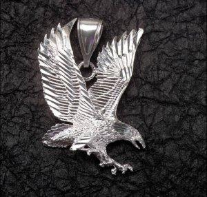 Sterling Silver Diamond-Cut Eagle Pendant