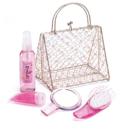 Sugar Plum Bath Set in Wire Purse
