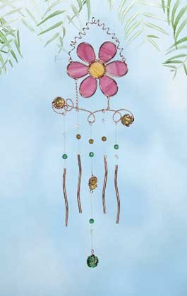 Daisy and Hummingbird Stained Glass Wind Chime