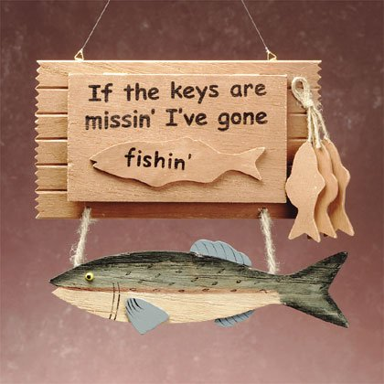 "Wood ""Gone Fishing"" Key Box"