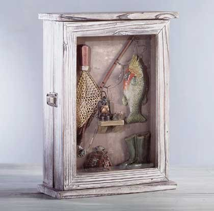 Wood Fishing Shadowbox Keyholder