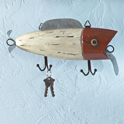 Fishing Lure Wall Plaque With Hooks