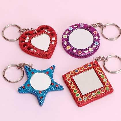 1-Dozen Mini Beaded Mirror Keychains