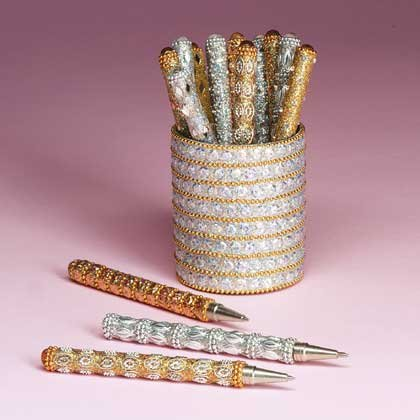 Silver and Gold Beaded Pens (in holder)