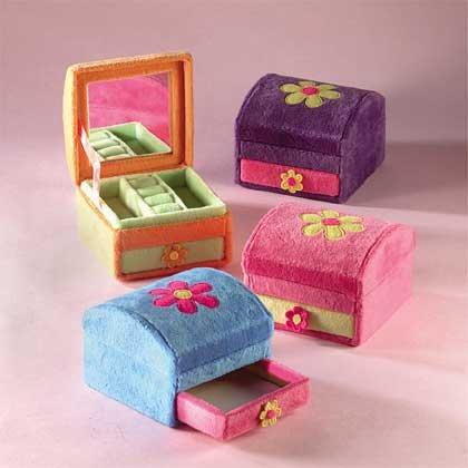 Plush Flower Jewelry Boxes 4-pk