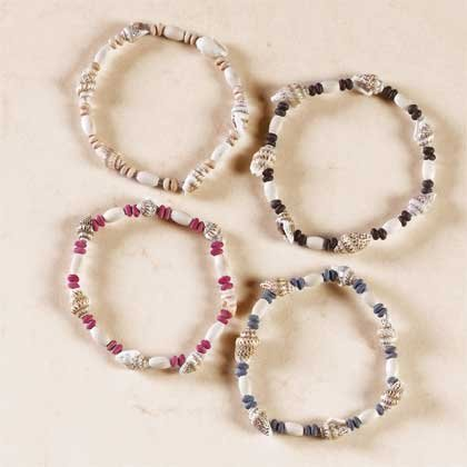 3-Dozen Shell and Wood Bead Bracelets