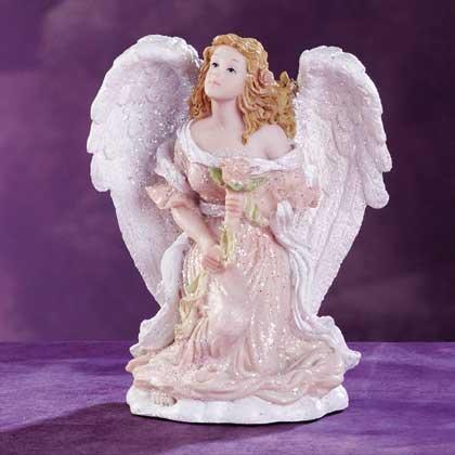 Angel Kneeling With Rose