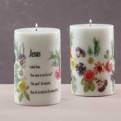 Scented Candle - Jesus With Dried Flowers