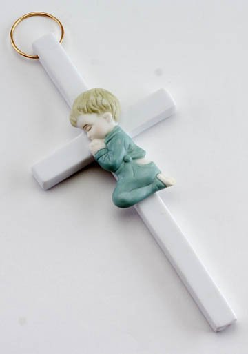 Boy Porcelain Cross Wall Plaque