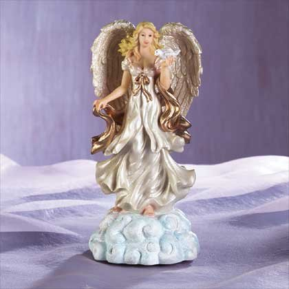 Musical Angel And Dove On Cloud