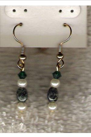 HANDCRAFTED Kambaba Jasper & Swarovski Crystal Earrings - 46442W
