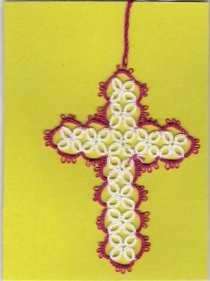 Tatted Cross Bookmark BEAUTIFUL HANDCRAFTED WORK - GTC917