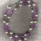 HANDCRAFTED Lavendar Cats Eye & Swarovski Crystal Necklace - 11091N