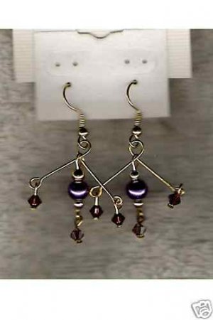 HANDCRAFTED Swarovski Crystal & Purple Glass Pearl Earrings NEW !