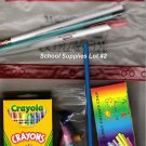 School Supplies Lot#2 Crayons Chalk Erasers Pencil Case